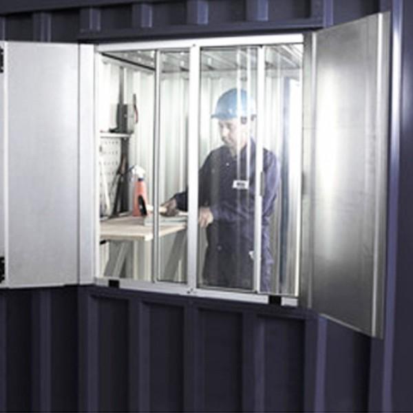 Materialcontainer Fenster 850 x 750 inkl. Montage (Sonderanfertigung)