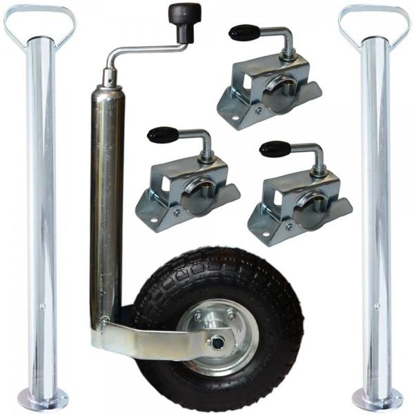 Stützrad 3x Klemmschellen 2x Abstellstützen Set für Anhänger Bauwagen Wohnwagen