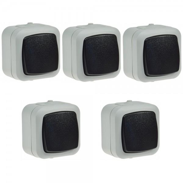 5x Wipptaster Aufputz Wechsel Schalter IP44 Grau Wippschalter 10A 250V Feuchtraum