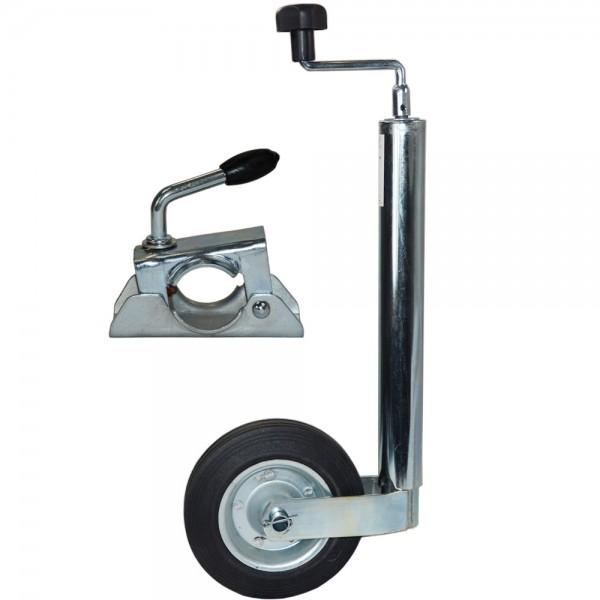 Stützrad mit Klemmschelle für PKW Anhänger Anhängerstützrad Vollgummireifen mit Stahlfelge