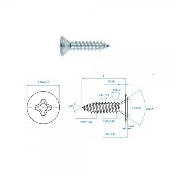 1x Blechschraube mit extra flachem Kopf PH-Kreuzschlitz verzinkt 4,2x13mm