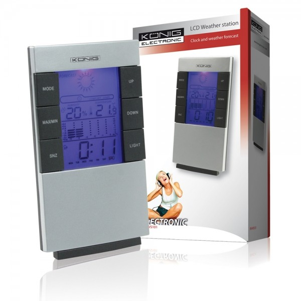 Wetterstation Temperaturstation Uhr Wecker-Funktion Prognose LED