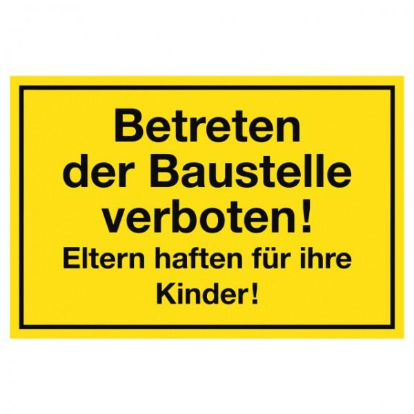 Hinweisschild Betreten der Baustelle verboten 20x30 cm
