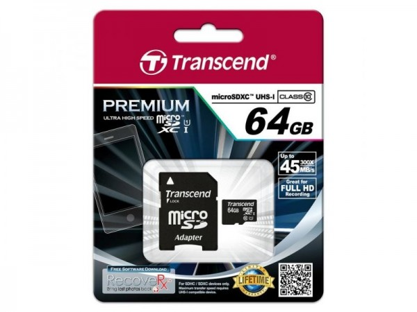 Transcend MicroSD SDXC Memory Card 64GB Speicherkarte & SD Karte Adapter