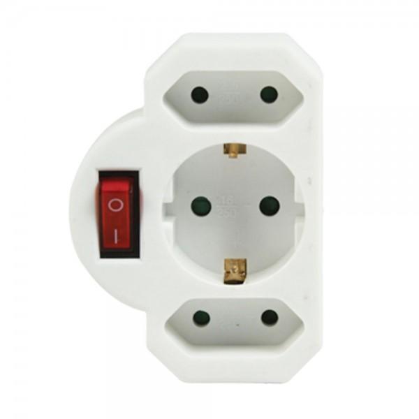 Schutzkontakt-Euro Adapter Steckdosenverteiler 1x Schuko 2x Euro