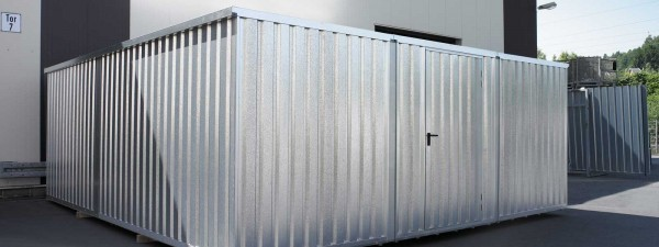 Große Lagerhalle mit großer 1-flügel Tür 70m³ Lagercontainer Materialcontainer