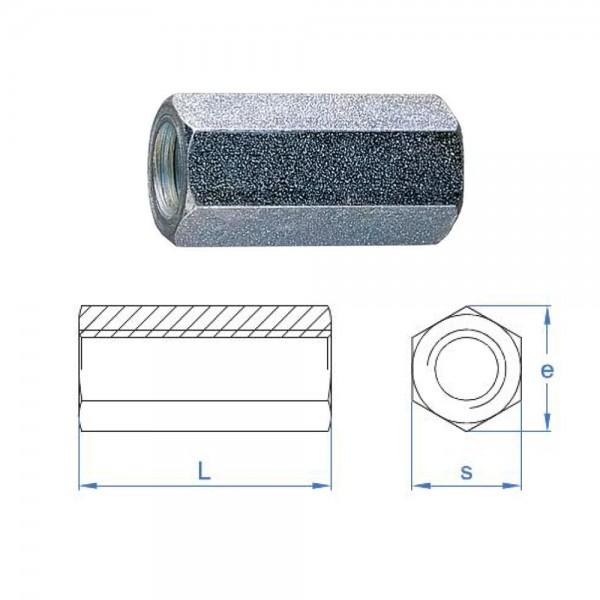 Distanzmuffe sechkant verzinkt M10 x 30mm