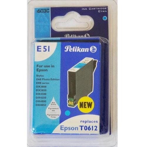 Pelikan E51 Druckerpatrone T0612 Cyan für Epson ersetzt Original Patrone