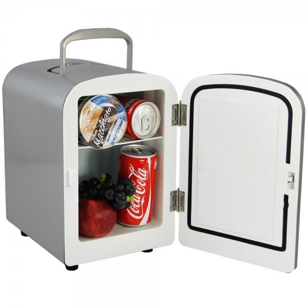 Mini Kühlschrank Kühlbox Kühler Wärmebox 12/230V 4L Silber