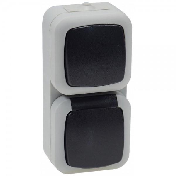 3x Kombi Schalter Wechselschalter Steckdose Aufputz IP44 SCHUKO Feuchtraum