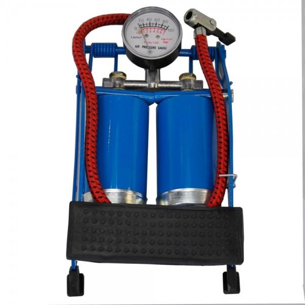 Fussluftpumpe Doppelzylinder Pumpe Luftpumpe Fußpumpe 7bar Manometer