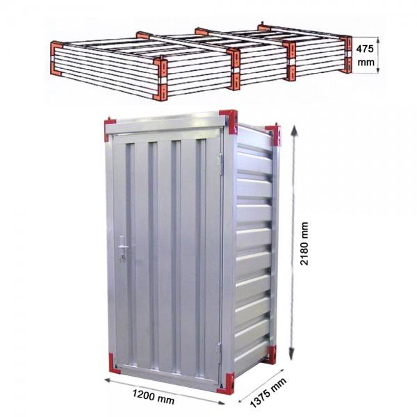 Mini Lagercontainer mit Einflügeltür 1,26m x 1,375m x 2,20m