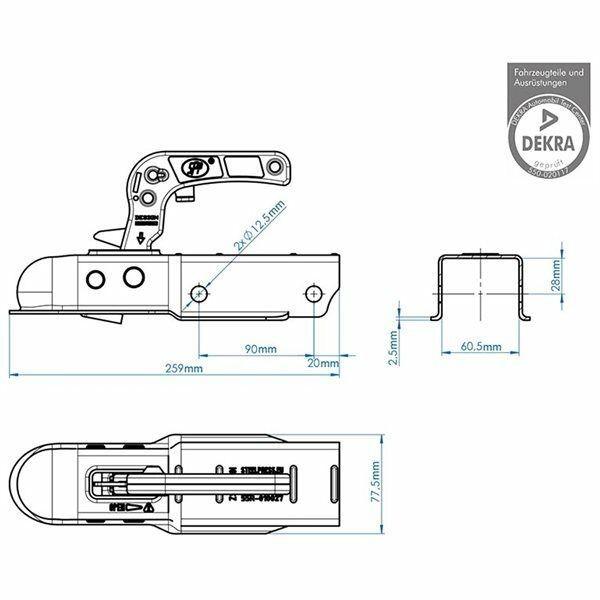 Kugelkupplung Zugvorrichtung Kupplung für Anhänger Deichsel 750Kg