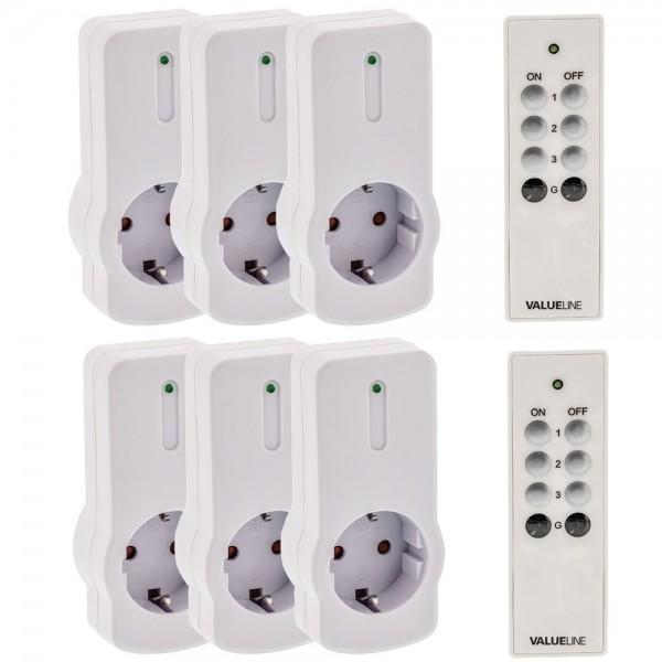 6x Funksteckdose mit Fernbedienung Set Steckdosen Funk Schalter CEE 7/3 Weiß