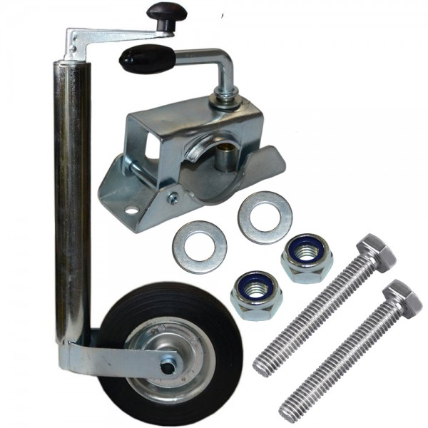 Stützrad Set inkl. Klemmhalterung und Montagematerial für PKW Anhänger