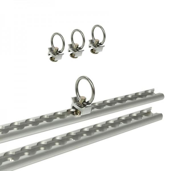 Zurrschienen Set 2x60cm 6-teilig inkl 4x Fitting mit Öse & Befestigungsmaterial
