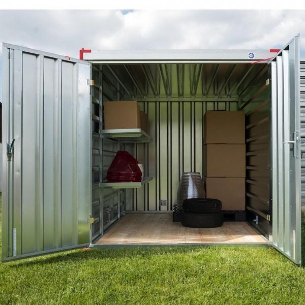 4m Lagercontainer mit Doppelflügeltür Stirnseite - 4000 x 2200 x 2200 mm