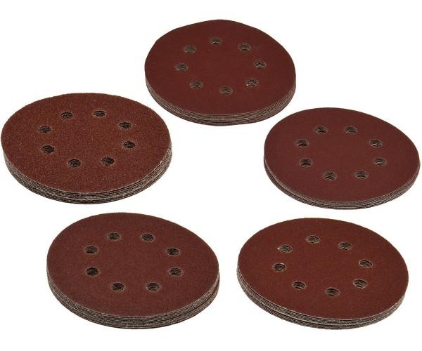 Schleifpapier Schleifscheiben Ø125mm mit Klettbefestigung K40-60-80-120-180 Set 50-tlg.