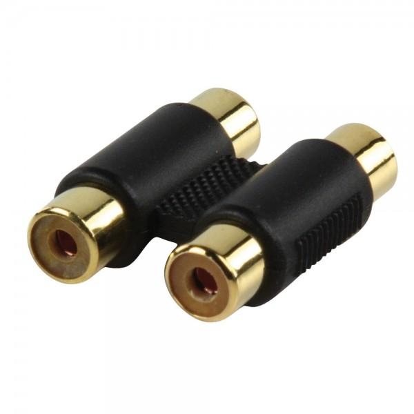 Audio Adapter 2x Cinch Buchse auf 2x Cinch Buchse Kupplung vergoldet