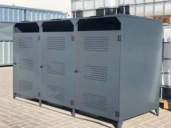 Mülltonnenbox Box Müllcontainer mit Deckel für 3 Mülltonnen ca 240l