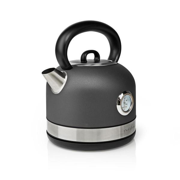 Wasserkocher 1,7 l mit Temperaturanzeige Kalkfilter und Drehsockel 2150W Grau Edelstahl