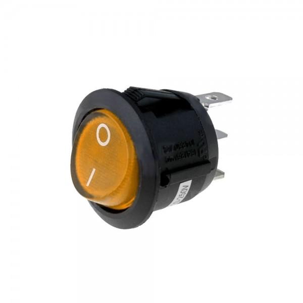 3x Netzschalter Schalter Wippschalter rund 3 pol. mit Signallampe gelb