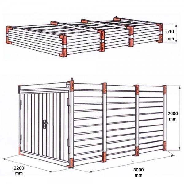 Lagercontainer mit Hoher Decke 3-6 Meter und Doppeltür Stirnseitig