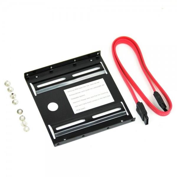 """Einbaurahmen 2,5"""" Zoll Festplatte HDD / SSD auf 3,5"""" Adapter Kabel SET"""