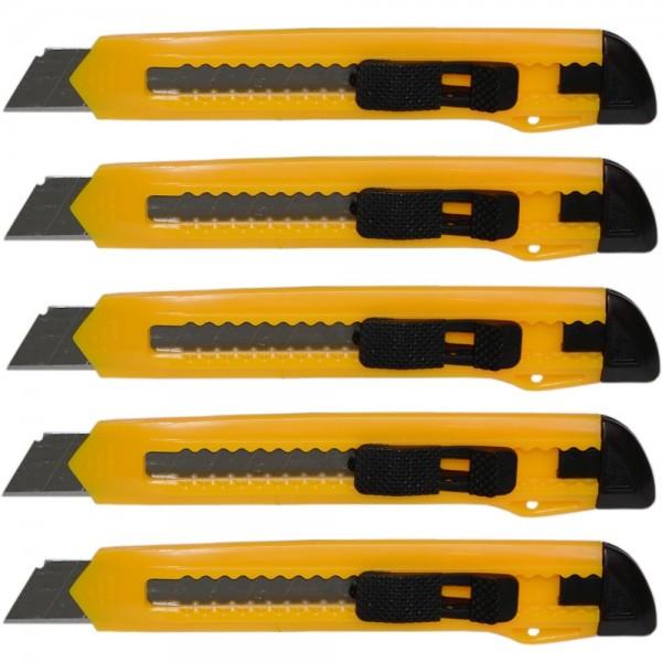5x Messer Mehrzweckmesser Teppichmesser mit Abbrechklinge 25x150mm