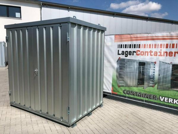 1,5m Materialcontainer-Baucontainer mit Doppelflügeltür, Kranösen und Staplerführung 2,10 x 1,50 x 2