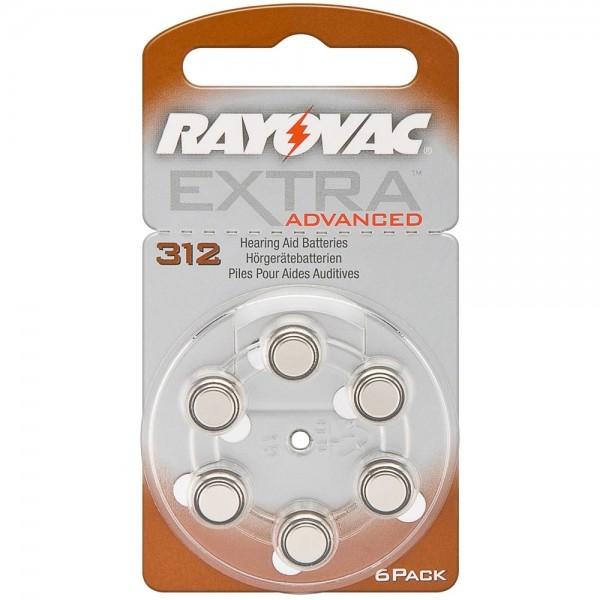 6x Batterie PR41 312A V312 1,45V Rayovac Knopfzelle für Hörgergäte