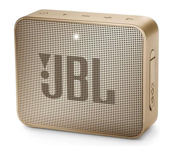 JBL GO 2 kleine Musikbox in Champagner, Wasserfester, portabler Bluetooth-Lautsprecher mit Freisprec