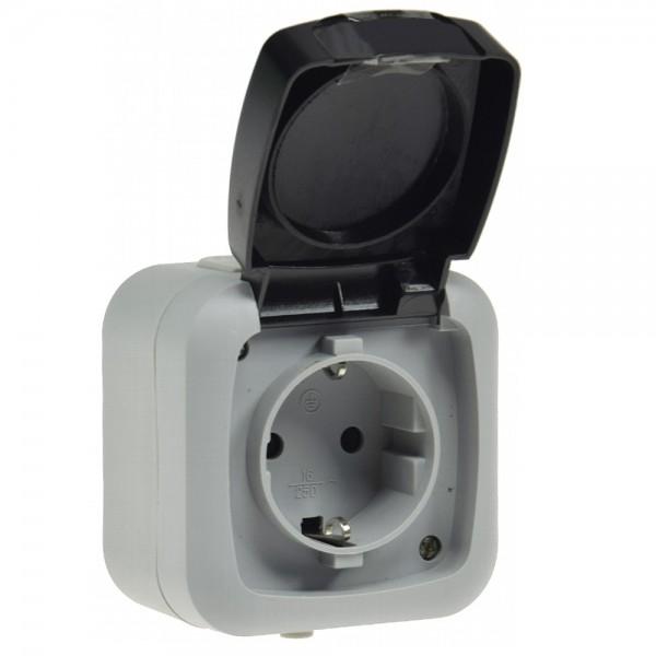 10x Steckdose Aufputz mit Klappdeckel 1-Fach IP44 Grau SCHUKO System