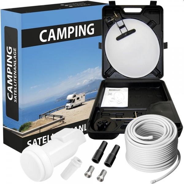 Camping Koffer TV Sattellitenanlage Set mit LNB 0.1dB & Sat-Kabel 10m