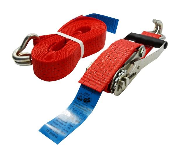 Spanngurt rot mit Ratsche 50mm auf 6 Meter Zurrgurt für Ladungssicherung 2500daN