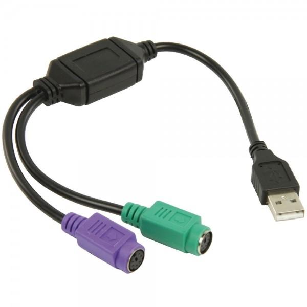 USB - PS/2 Adapter USB Stecker Typ A auf 2x PS/2 Buchse Adapterkabel