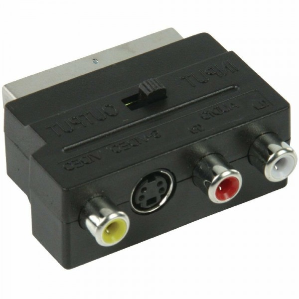 Scart Cinch Adapter AV Audio Video Scart Stecker - 3x Cinch Buchse + S-Video