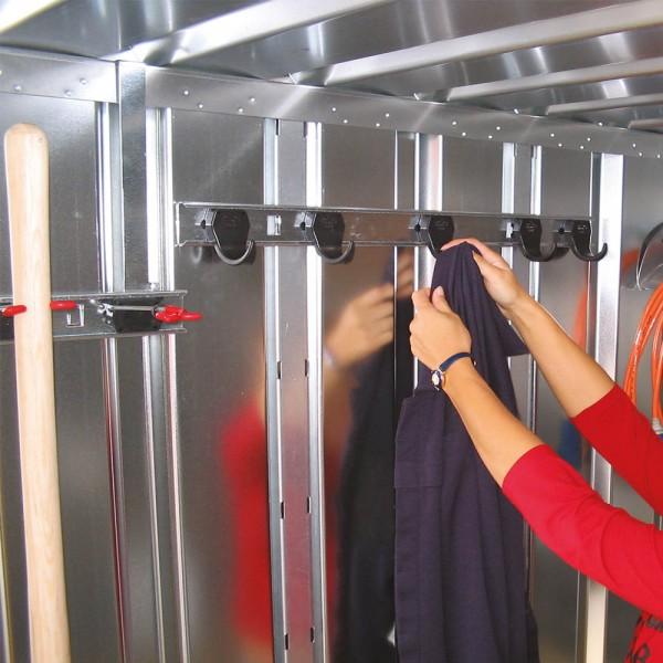Container Kleiderhakenleiste - Geräteleiste 5x Haken mit je 10 kg Last