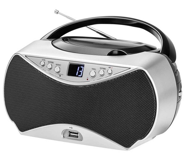Radio CD Player Dual P 396 UKW AUX USB silber