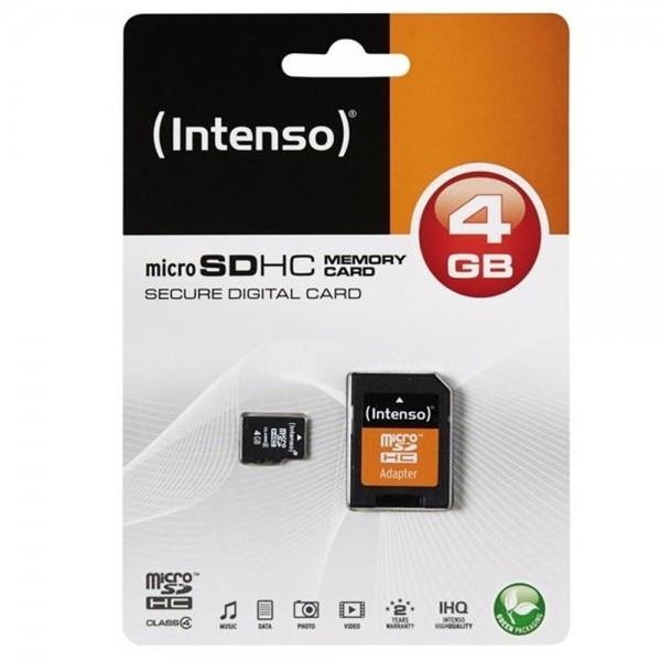 Intenso Micro SDHC Memory Card 4GB Speicherkarte & SD Karte Adapter
