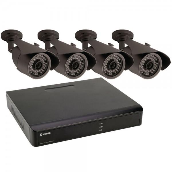 Netzwerk Videorecorder mit 4 Überwachungskameras Überwachunsset