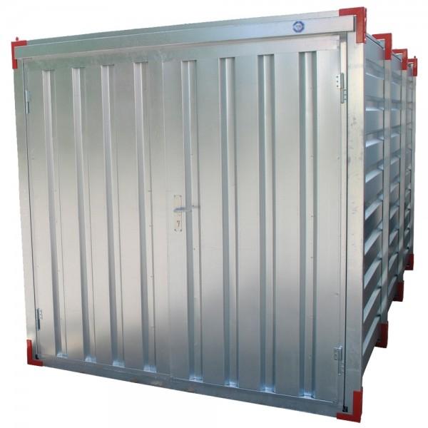 2m Lagercontainer - Materialcontainer mit Doppelflügeltür - Stirnseite / 2250 x 2200 x 2200 mm