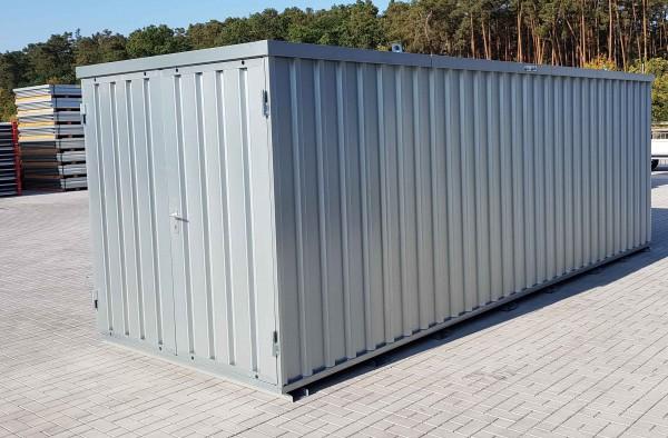6m Materialcontainer 20 Fuss- mit Doppelflügeltür, Kranösen und Staplerführung - 6100 x 2100 x 2100