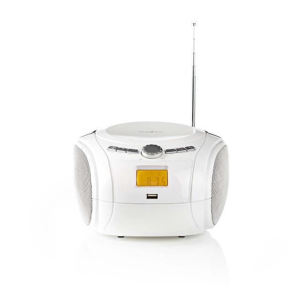 Tragbarer CD Player Boombox FM Radio USB Aux Bluetooth Stereo weiß