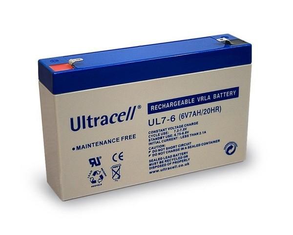 Ultracell Bleiakku Akku 6 V 7 Ah Blei-Akku Wiederaufladbare Batterie UL7-6