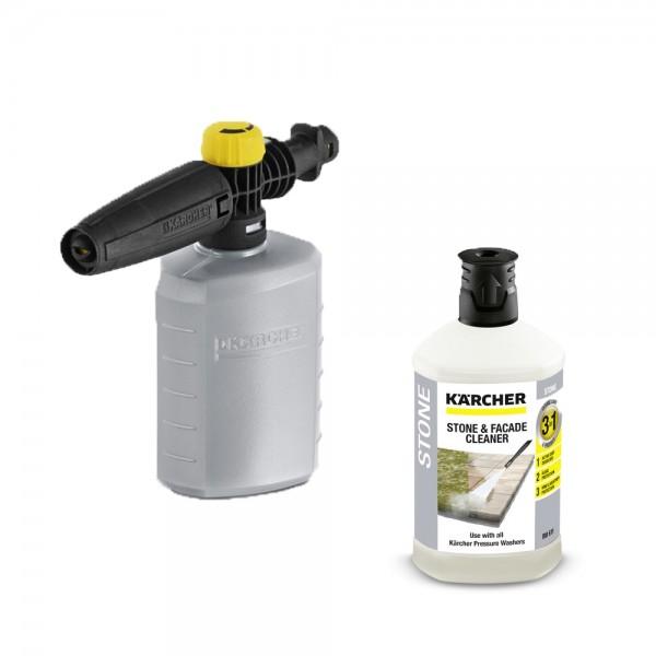 Kärcher Schaumdüse FJ 6 + 1l Reinigungsmittel Stein für Hochdruckreiniger K2 K3 K4 K5 K7