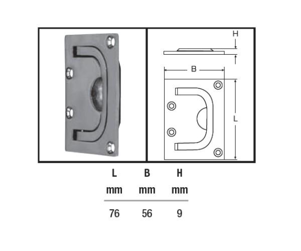 Bodenheber Einlassgriff Lukenheber feinguss poliert 76 x 56 mm