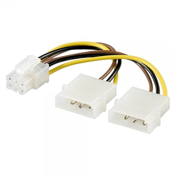 Internes PC Stromkabel Y Adapter 2x 5,25 Stecker PCI Express 6 Pin für Computer