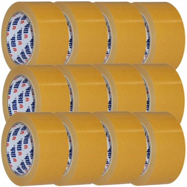 12x Beidseitiges Klebeband Verlegeband Doppelseitiges Teppichband 50mm x 25m