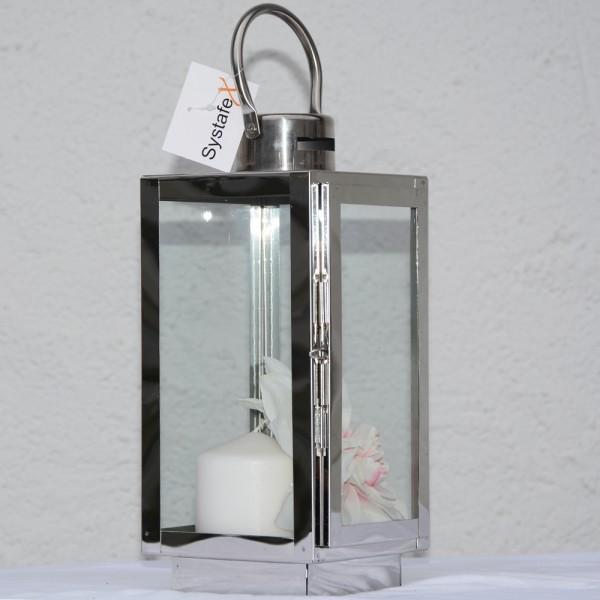 Systafex Laterne Gartenlaterne Edelstahl Kerzenhalter Gartenlampe 30 cm klein